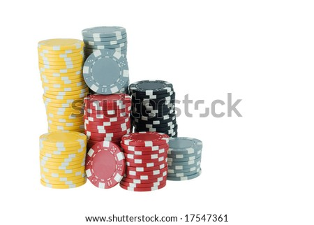 Stacks of poker chips isolated on white - stock photo