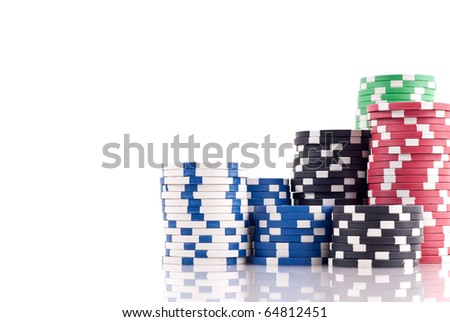 Stacks of Poker Chips with Space for Text - stock photo