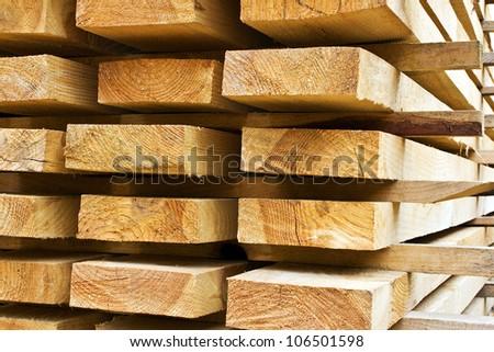 Stacks of prepared lumber - stock photo