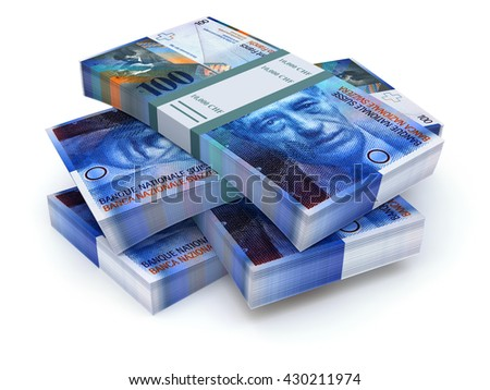 Stacks of swiss francs on white background - 3D illustration - stock photo