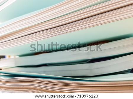 Stacks of white and blue paper document,design for Illustration.
