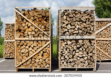 Stacks of Wood  in a Service Area - stock photo