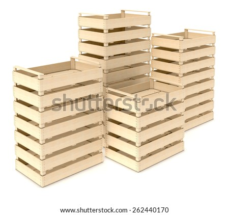 stacks of wooden crates on white background (3d render)