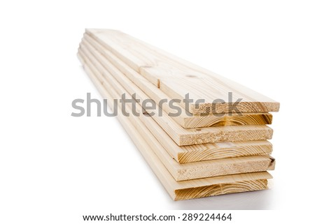 Stacks of wooden timber planks isolated on white background. Set of wooden board isolated. - stock photo
