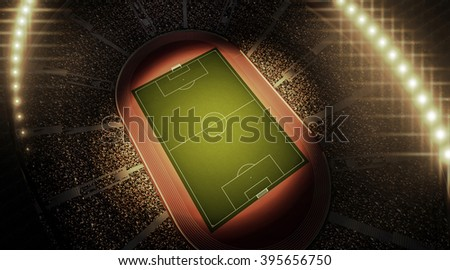 Stadium, an imaginary stadium is modelled and renderd. - stock photo