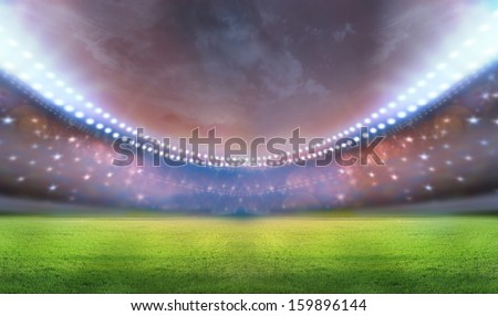 stadium  and flashes - stock photo