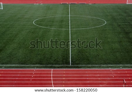 Stadium field for game in soccer                        - stock photo