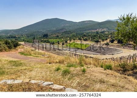 Stadium in Ancient Messene in Peloponnese, Greece - stock photo