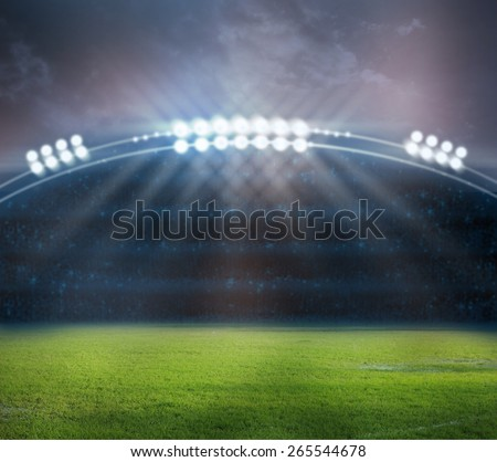 stadium in lights and flashes - stock photo