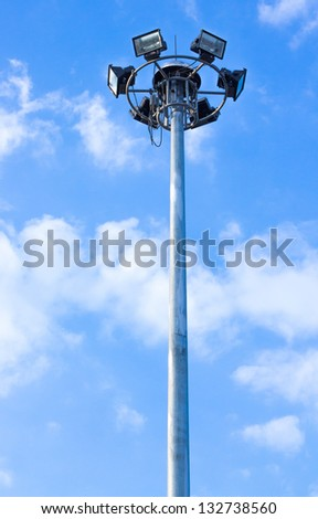 Stadium light on blue sky