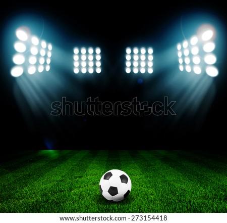 stadium lights at night and stadium - stock photo