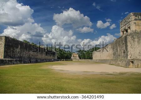 "Stadium Maya for ball game. ""Juego de Pelota"" , Chichen-Itza , Mexico - stock photo"