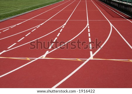 stadium running tracks - stock photo
