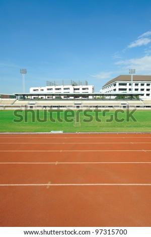 stadium way grid race grass - stock photo