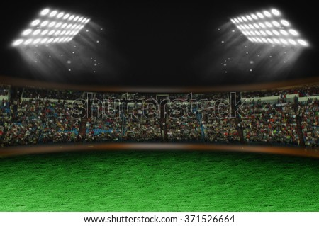 Stadium with fans, spotlights and lawn on a black background
