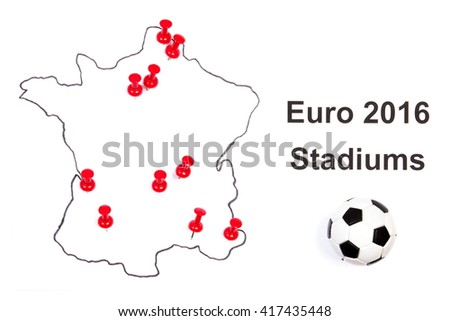 Stadiums for European Championship 2016 marked on contour of France