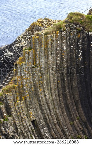 Staffa from the Old Norse for stave or pillar island, is an island of the Inner Hebrides in Argyll and Bute, Scotland. - stock photo