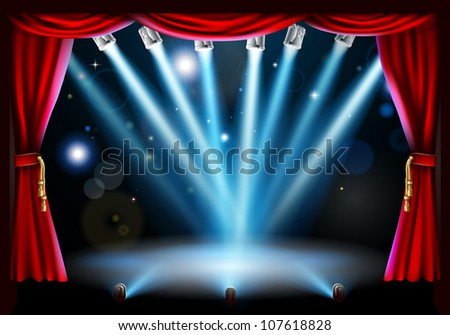 Stage background illustration with blue stage spot lights pointing to the centre of the stage and red curtain frame - stock photo
