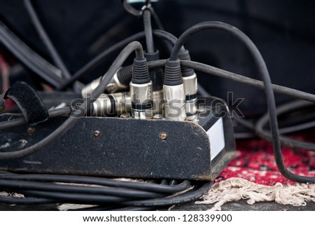 Stage box of audio connection cable or snake with XLR plugged in. - stock photo