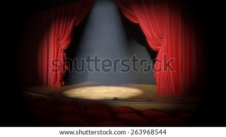 Stage. 3D. Curtain Up - stock photo