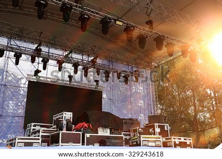 stage equipment for a concert - stock photo