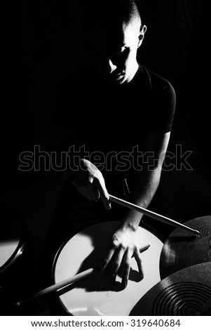 Stage in Lights before jazz band concert - stock photo