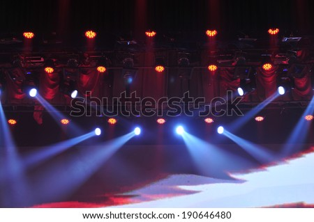 Stage lighting effect in the dark, close-up pictures