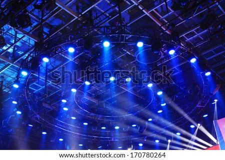 stage lighting effect in the dark, closeup photo