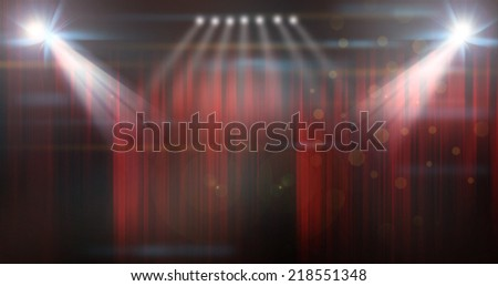 stage of show with closed red curtains - stock photo