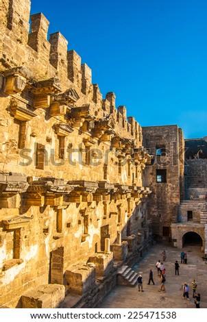 stage of the amphitheatre in Aspendos, Antalya, Turkey - stock photo