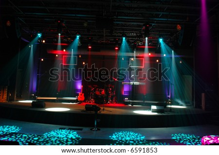 Stage ready for musical presentation with lights and patterns - stock photo