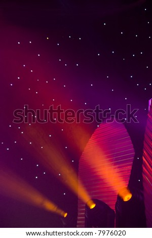Stage red lights - prepared for production and shooting. Light and smoke - stock photo