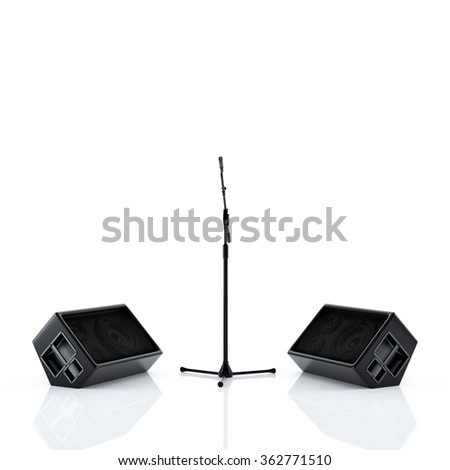 Stage speakers and microphone isolated on white background - stock photo