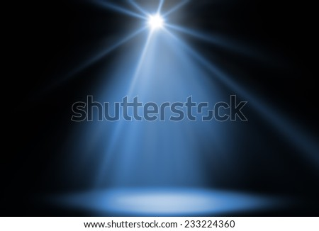 stage spot lighting background blue - stock photo