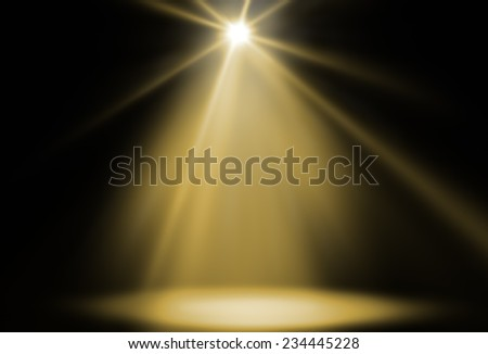 stage spot lighting background yellow - stock photo