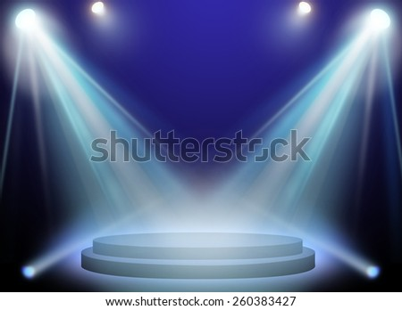 stage spot lighting over blue background.