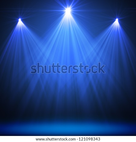 Stage Spot Lighting Over Blue Christmas Textured