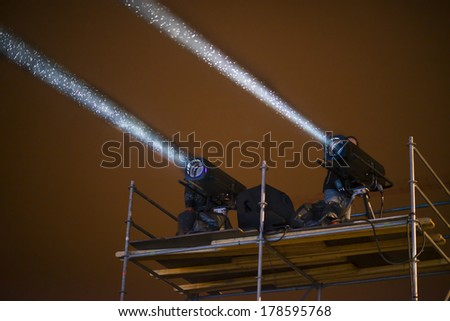 Stage Spotlight on a scaffold - stock photo