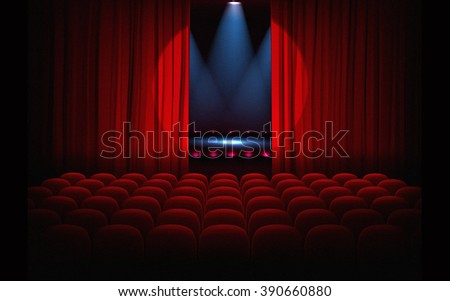 Stage with empty seats and red curtains with bright spotlight - stock photo