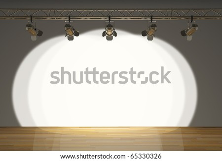 stage with hanging spotlights - stock photo