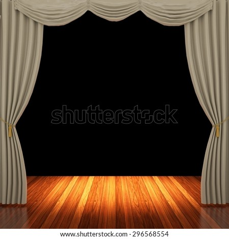 Stage with light brown curtains and spotlight.