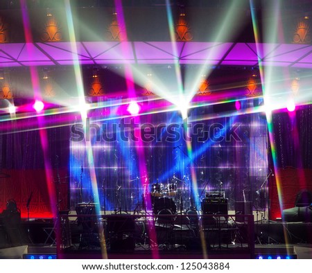 Stage with lumiere and drums - stock photo