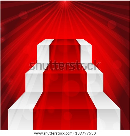 stage with red carpet and the rays of light.raster copy of vector file - stock photo