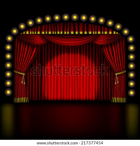 stage with red curtain and lights - stock photo