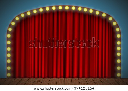 Stage with red curtain, lights and wooden floor for your design - stock photo
