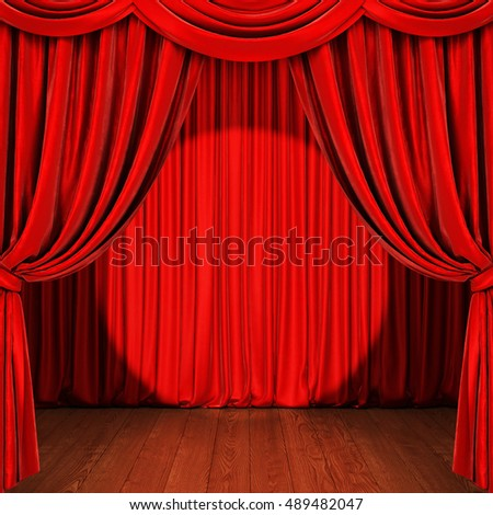 Stage with red curtain, wooden floor and spotlight. 3D rendering