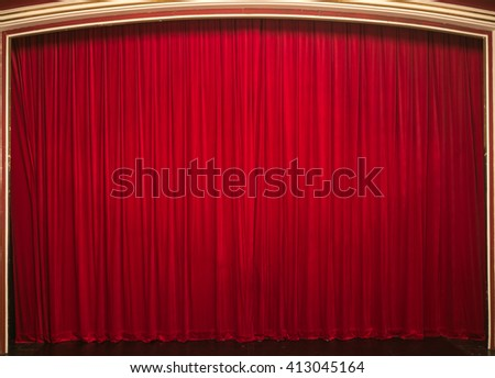 Stage with red curtains - stock photo