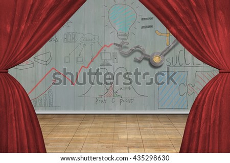 Stage with red curtains, on doodles wooden wall background,3D illustration - stock photo