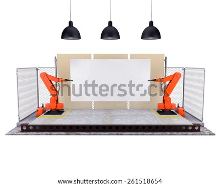 Stage with robotic arms - stock photo
