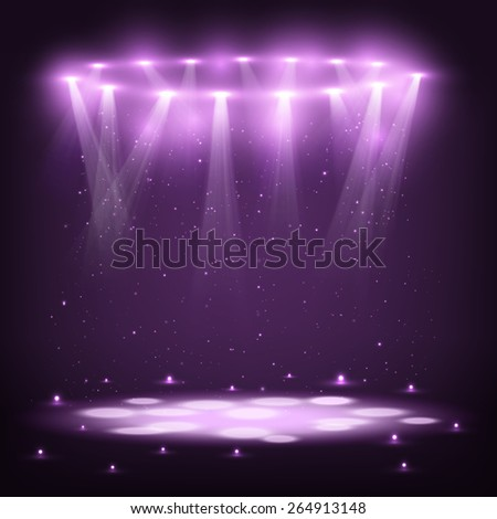 Stage with Spotlights and Spark Rain - stock photo